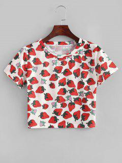 Strawberry Print Slim Crop Tee - Multi-a
