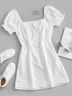 ZAFUL Eyelet Bowknot Puff Sleeve Mini Dress - White S