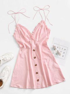 ZAFUL Ruffle Tie Shoulder Mock Button Backless Dress - Pink Rose M