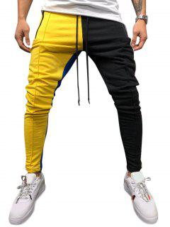 Color Block Pockets Drawstring Slim Fit Track Pants - Yellow Xl