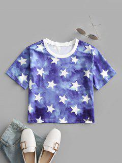 Tie Dye Star Print Tee - Blue S