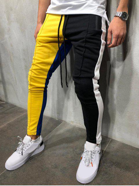Pantalones Ajustados Slim Fit Diseño Bloque Color - Amarillo 3XL Mobile