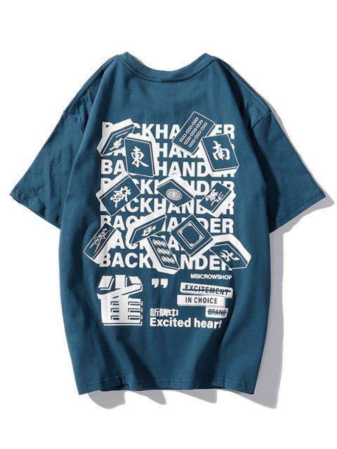 T-Shirt Casuale con Grafica di Lettere - Lapis lazuli 2XL Mobile