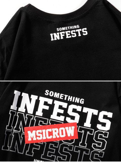 T-Shirt Basic con Grafica di Lettere - Nero 2XL Mobile