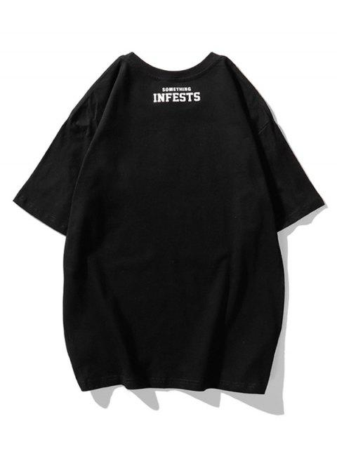 Infests Letter Graphic Basic T-shirt - أسود 2XL Mobile