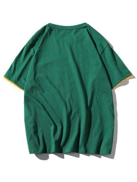 womens Colorblock Letter Pocket Patch T-shirt - MEDIUM SEA GREEN L Mobile