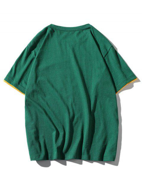 women Colorblock Letter Pocket Patch T-shirt - MEDIUM SEA GREEN XL Mobile
