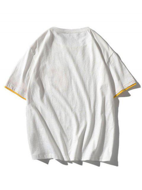 Farbblock Buchstabe Tasche Patch T-Shirt - Weiß 4XL Mobile
