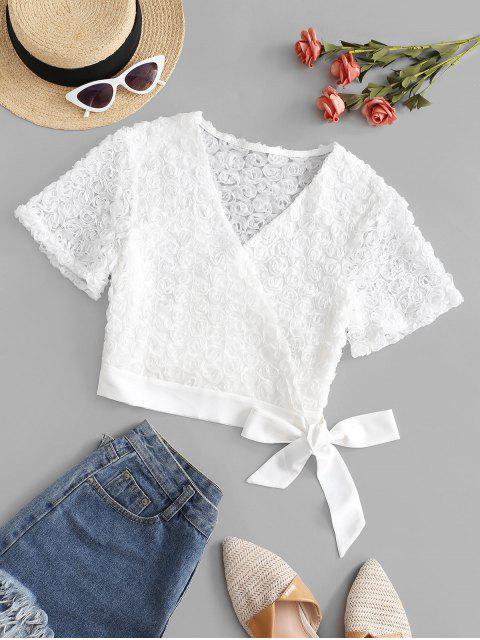 new Cropped Floral Applique Wrap Blouse - WHITE M Mobile