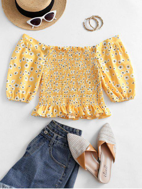 affordable Off Shoulder Smocked Daisy Milkmaid Blouse - BEE YELLOW L Mobile