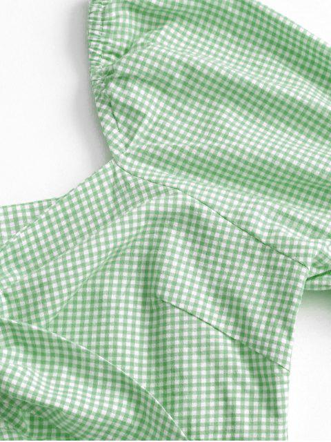 shop Gingham Tie Front Mini Dress - GREEN PEAS S Mobile