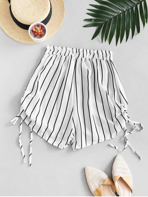 shop Striped Cinched Tie Casual Shorts - WHITE L Mobile