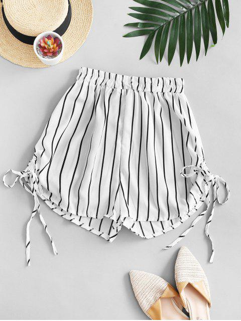 sale Striped Cinched Tie Casual Shorts - WHITE M Mobile