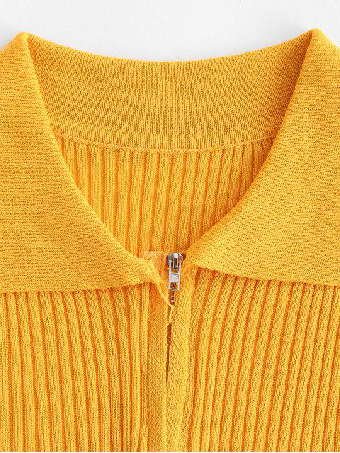buy Double Way Zip Ribbed Short Sleeve T-shirt - YELLOW ONE SIZE Mobile