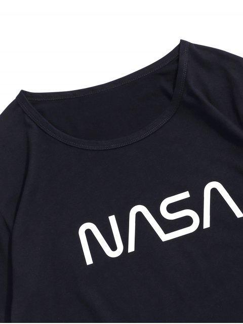 T-Shirt Casuale Grafica di Lettere con Maniche Corte - Nero XS Mobile