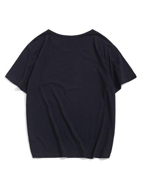 T-Shirt Casuale Grafica di Lettere con Maniche Corte - Nero L Mobile