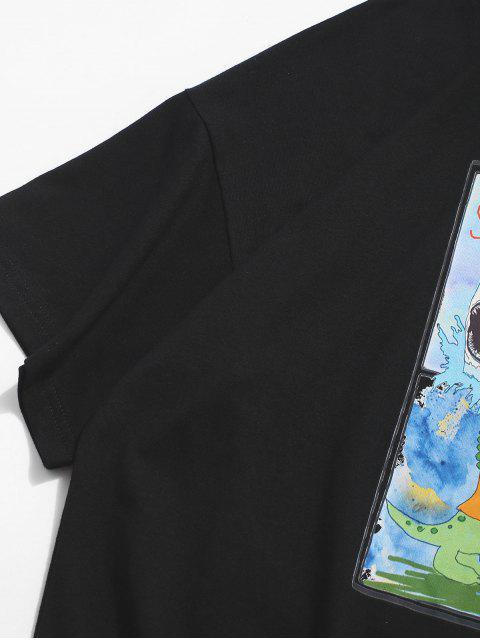 T-Shirt con Grafica di Dinosauro - Nero 2XL Mobile