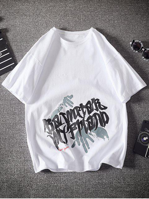 trendy Letter Palm Graphic Basic T-shirt - WHITE XS Mobile