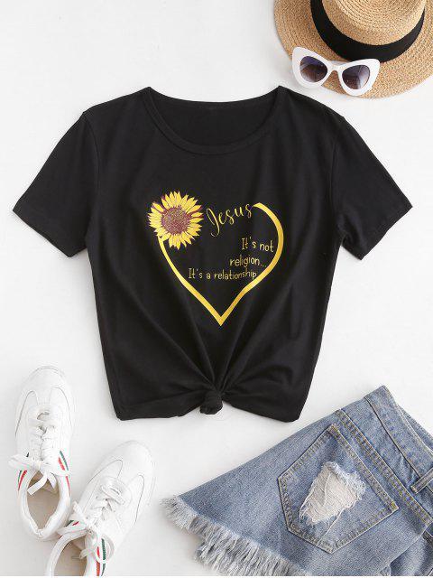 unique Sunflower Heart Slogan Print Short Sleeve T-shirt - BLACK S Mobile