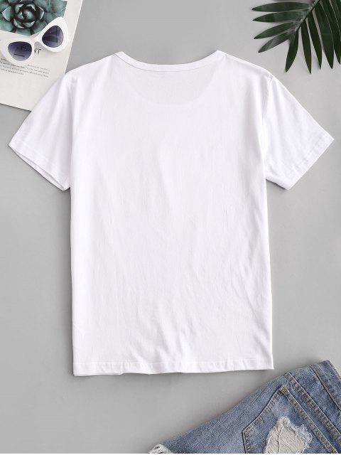 T-shirt de Manga Curta de Coração com Impressão de Girassol - Branco XL Mobile
