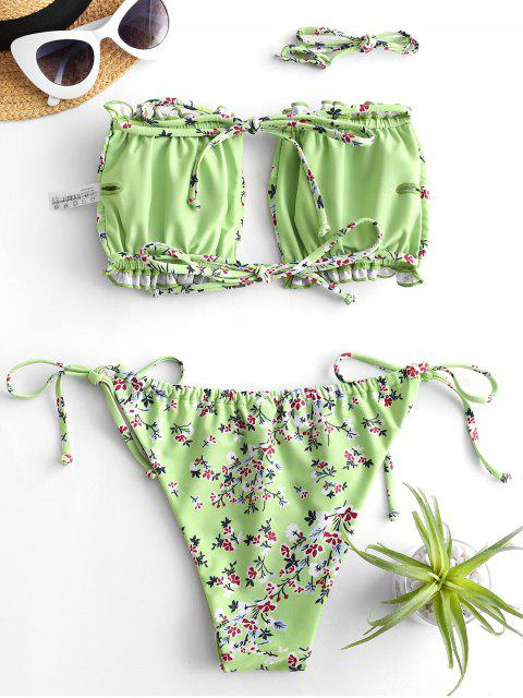 outfit ZAFUL Ditsy Print Tie Side Ruched Bikini Swimsuit - LIGHT GREEN S Mobile