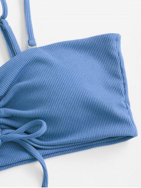 ZAFUL Bikini de Corte Alto con Canalé - Azul de Seda M Mobile
