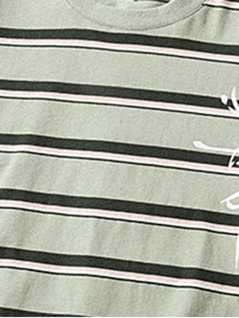T-Shirt Grafica a Righe - Verde Cipolla  2XL Mobile