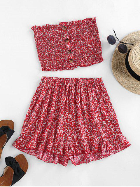 trendy ZAFUL Ditsy Floral Smocked Bandeau Two Piece Set - CHERRY RED XL Mobile