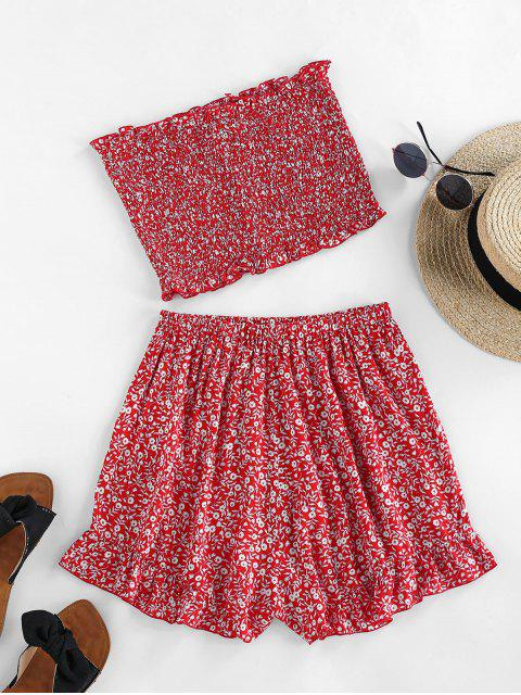 womens ZAFUL Ditsy Floral Smocked Bandeau Two Piece Set - CHERRY RED M Mobile