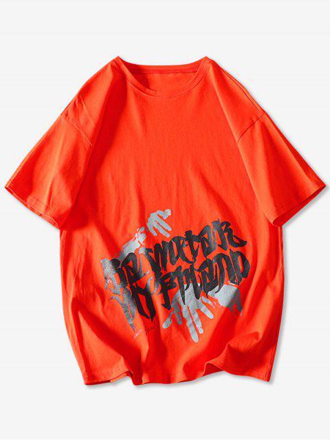 Camiseta Básica con Estampado de Letras - Naranja XL Mobile