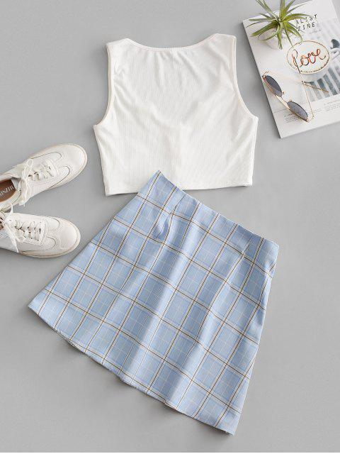 fashion ZAFUL Plaid Ribbed V Notched Skirt Set - WHITE M Mobile