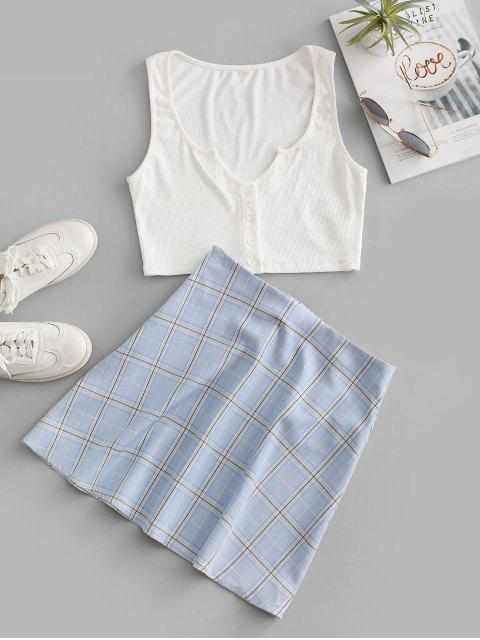 fashion ZAFUL Plaid Ribbed V Notched Skirt Set - WHITE L Mobile