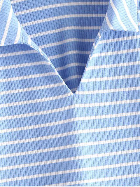 trendy ZAFUL Striped Ribbed Boxy Short Tee - LIGHT BLUE XL Mobile