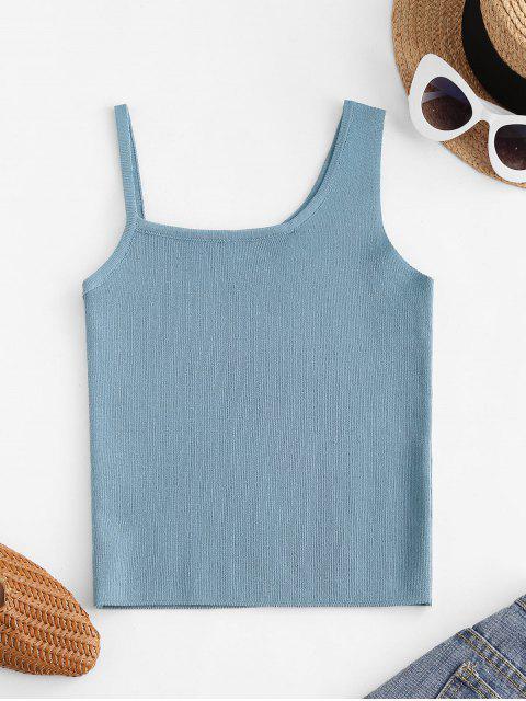 Regata Tricotada com Gola Irregular - Azul Um Tamanho Mobile