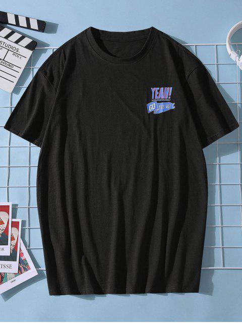 Maglietta Casual con Stampa Grafica e Scollo Rotondo - Nero S Mobile