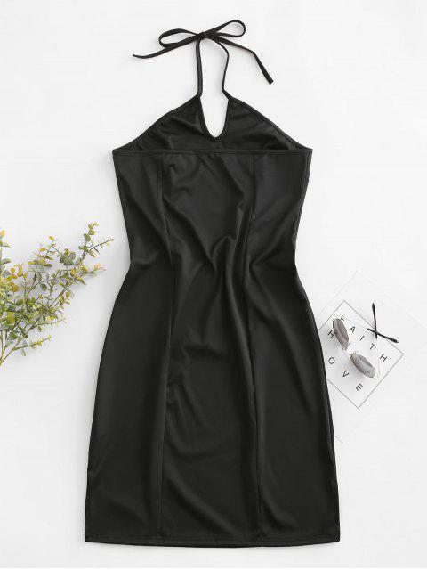 Halfter Drachenstickerei Bodycon Kleid - Schwarz L Mobile