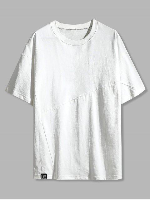 Camisa de Algodão com Padrão de Letras de Lazer - Branco 3XL Mobile