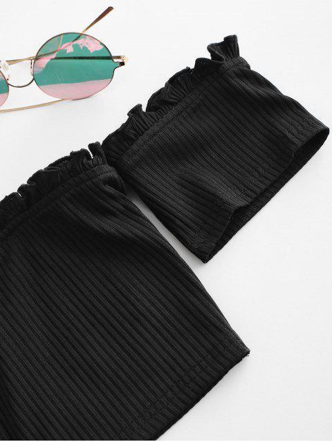 new ZAFUL Ribbed Off Shoulder Frilled Crop Top - BLACK XL Mobile
