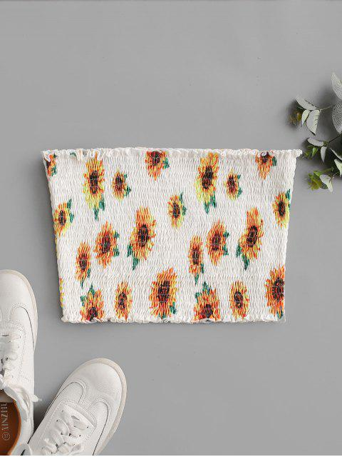 new ZAFUL Sunflower Smocked Ruffle Crop Tube Top - WHITE M Mobile