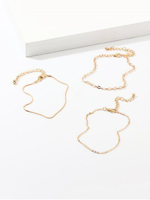 outfits 3Pcs Chain Metal Anklet Set - GOLD  Mobile