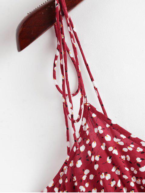 ZAFUL Top de Biquíni de Impressão de Ditsy de Top Cami - Lava Vermelha L Mobile