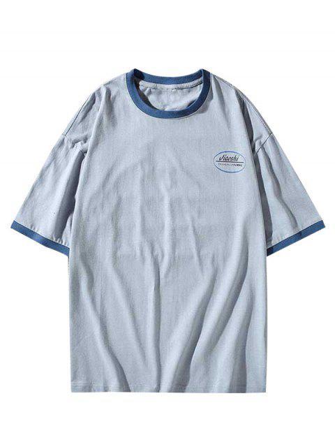 women Letter Print Round Neck Ringer T-shirt - DODGER BLUE 3XL Mobile