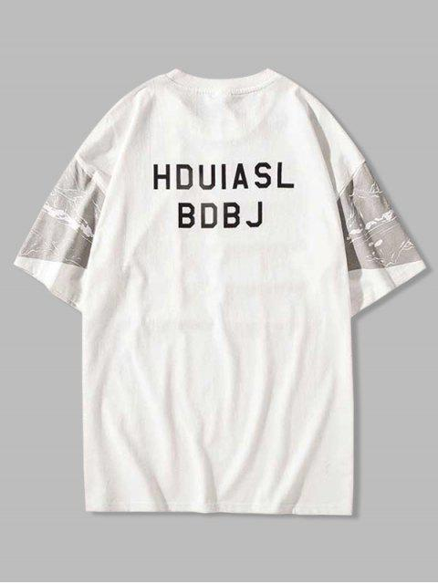 Colorblock Spliced Graphic Print T-shirt - أبيض L Mobile