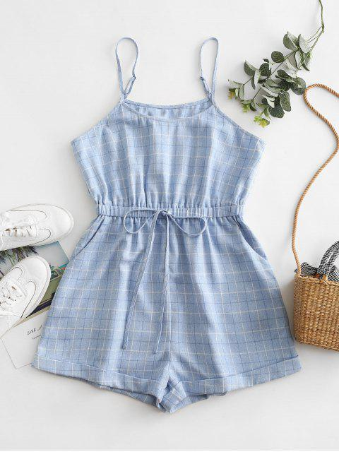 trendy ZAFUL Plaid Cuffed Tie Waist Cami Romper - SEA BLUE S Mobile