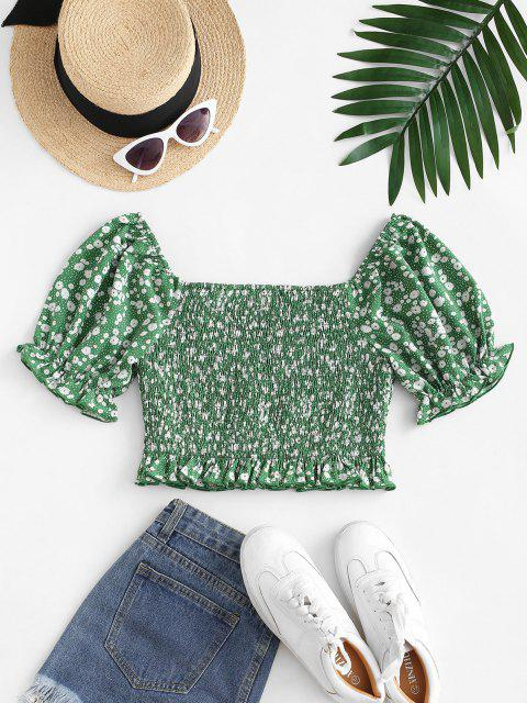 hot ZAFUL Puff Sleeve Ditsy Print Crop Blouse - PINE GREEN XL Mobile