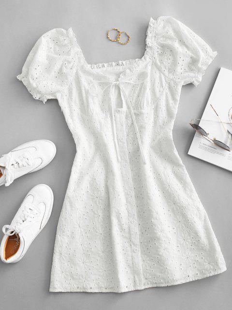 ZAFUL Gebundenes Broderie Anglaise Puff Ärmel Milkmaid Kleid - Weiß XL Mobile