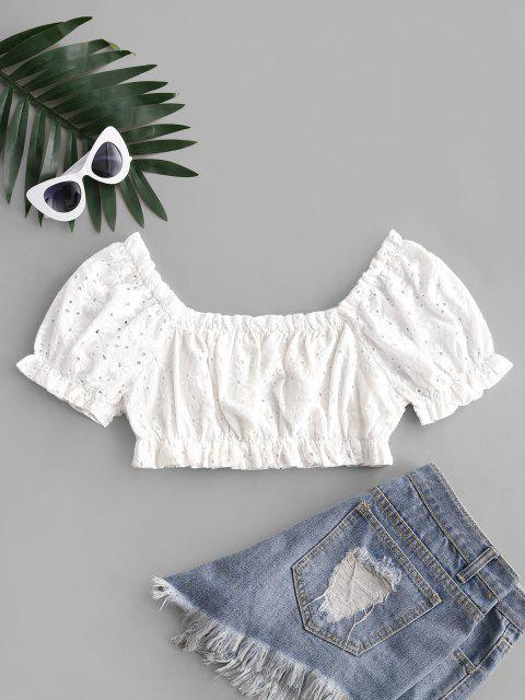 online ZAFUL Ruffled Puff Sleeve Crop Blouse - WHITE XL Mobile