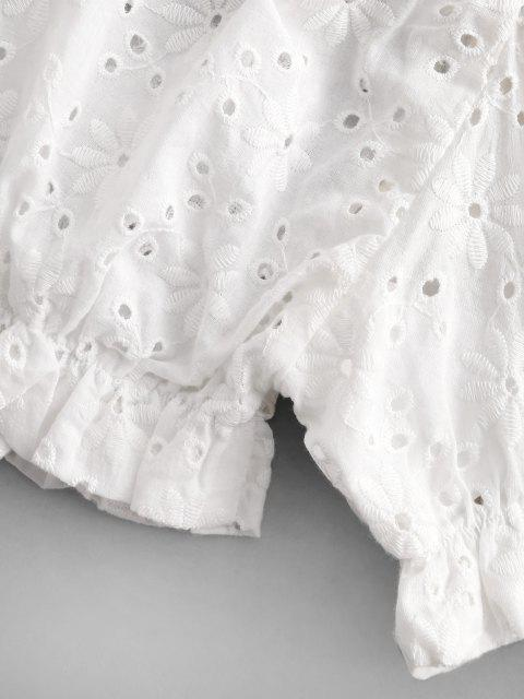 new ZAFUL Ruffled Puff Sleeve Crop Blouse - WHITE L Mobile