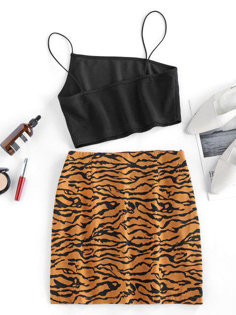 fashion ZAFUL Bungee Strap Tiger Print Two Piece Dress - BROWN L Mobile