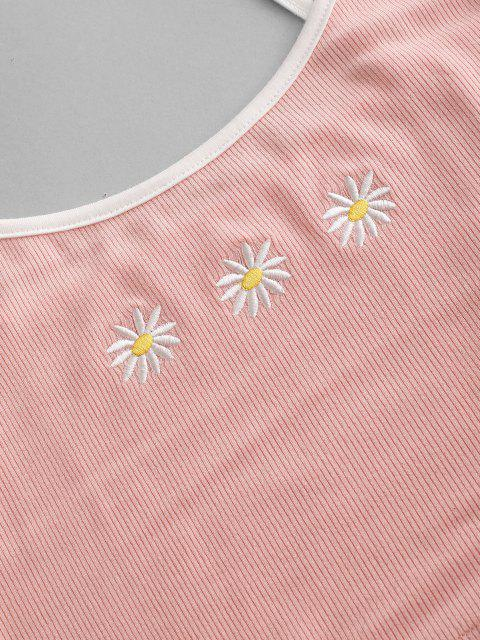 ZAFUL Blumen Besticktes Geripptes Wecker Set - Rosa XL Mobile